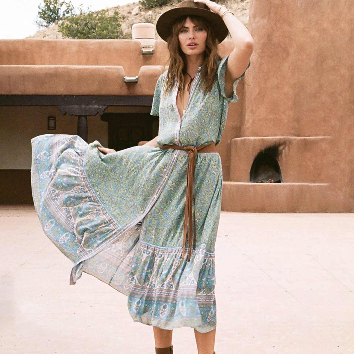 575726155a4 Floaty Jasmine Midi Dress Women Summer Short Sleeve V neck Button Down Sexy  Dresses Ladies Boho