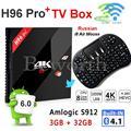 3G 32G Android 6.0 TV Box Amlogic S912 Octa Core 2 GB 16 GB H96 Pro 4 K Smart Set Top Wifi 3 GB TVbox Hebreo Ruso i8 Air Mouse