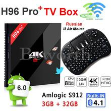 3G 32G Android 6.0 TV Box Amlogic S912 Octa Core 3GB 16GB H96 Pro 4K Smart Set Top AC Wifi TVbox Russian Hebrew i8 Air Mouse