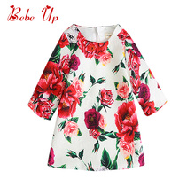 Toddler Girl Fall Winter Tunic Dress Long Sleeve Kids Floral Party Dress Children Boutique Clothing Little Girl Designer Dresses toddler girl floral dress ladybird pattern print little girl fashion a line summer dress children spring fall princess clothing