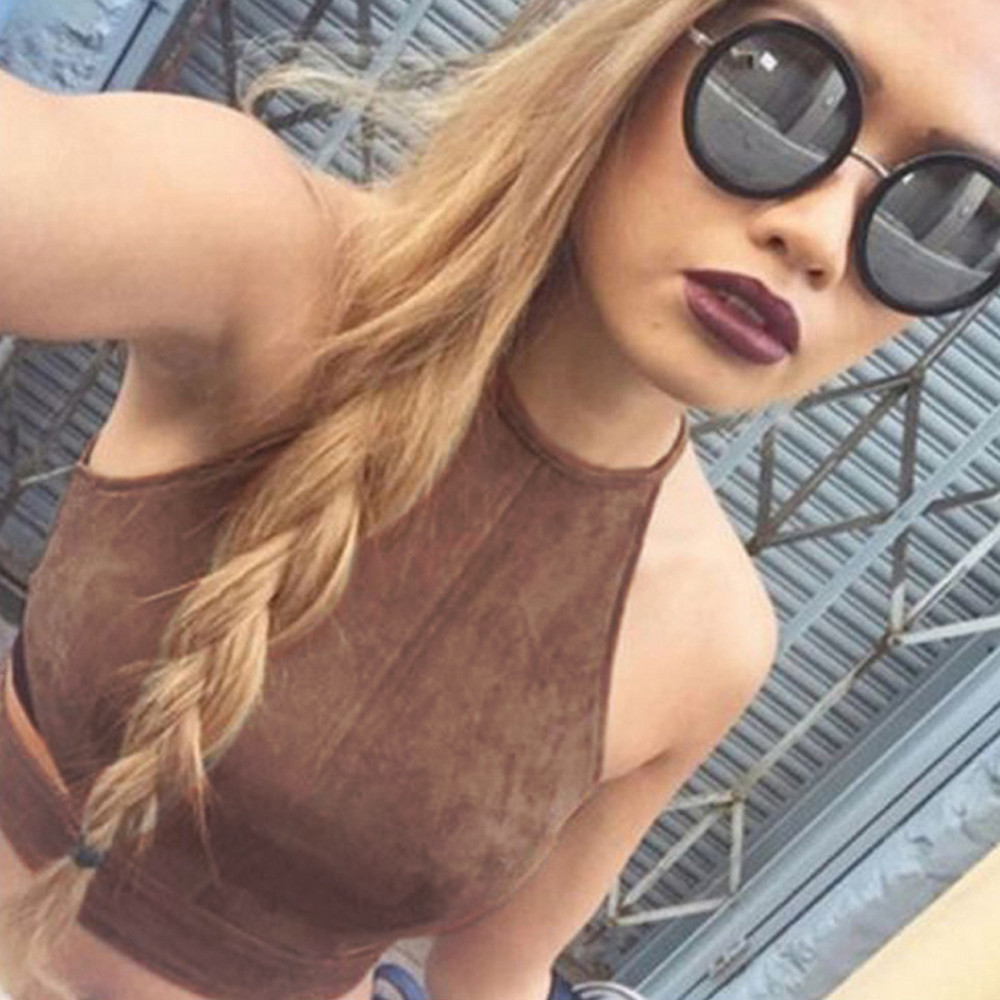 a5c0cbf66f Suede Tops Tight T shiart Midriff Women Tank Halter Cami Vest Crop Top  Shirt Bralette Blouse  2415-in Camis from Women s Clothing on  Aliexpress.com ...