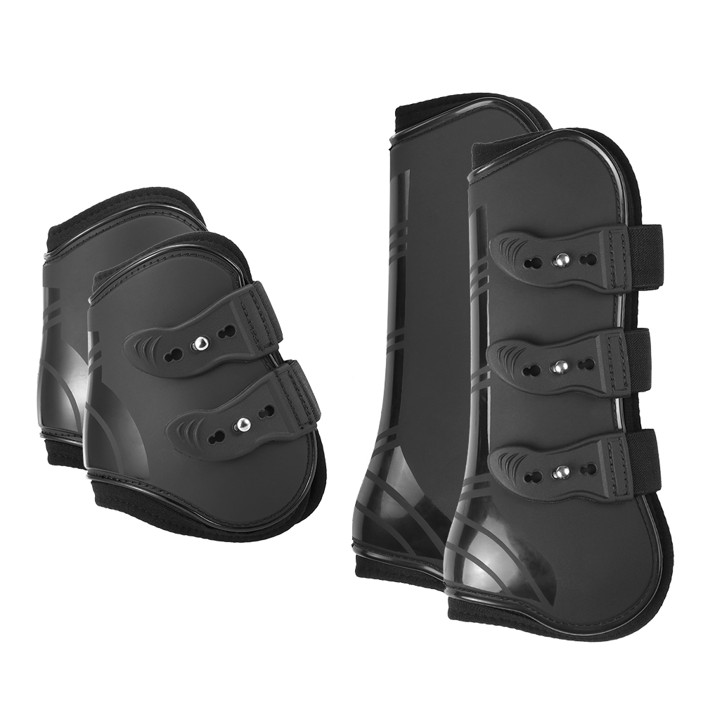 Image 1 - 4 PCS Front Hind Leg Boots Adjustable Horse Leg Boots Equine Front Hind Leg Guard Equestrian Tendon Protection Horse Hock Brace-in Horse Care Products from Sports & Entertainment