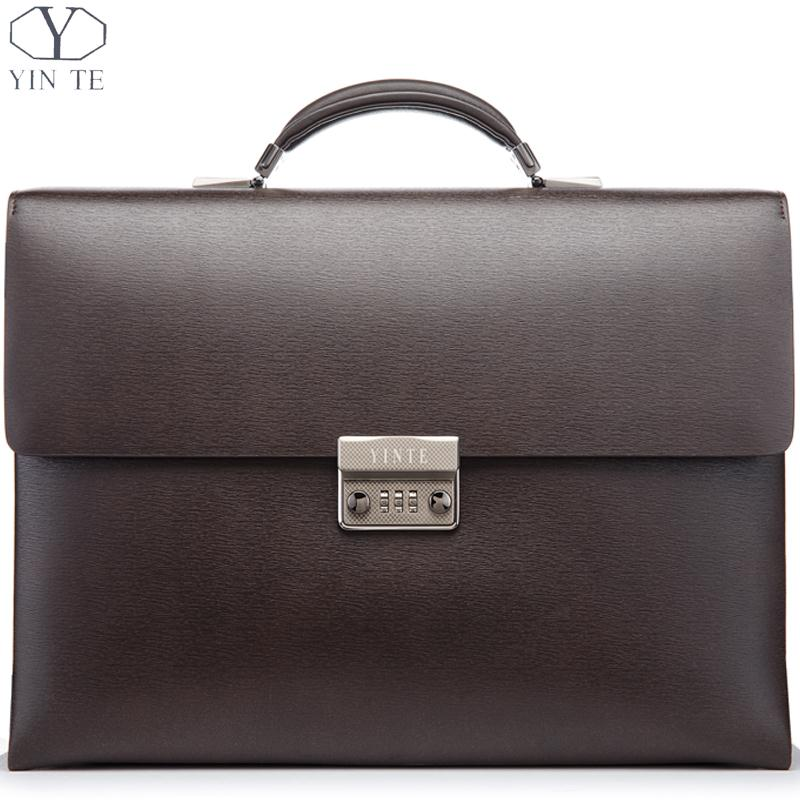 YINTE Men's Leather Briefcase Brown Bag Fashion Messenger Bag Leather Men's Bag Business Laptop Lawyer Totes Portfolio T8196-3 цена и фото