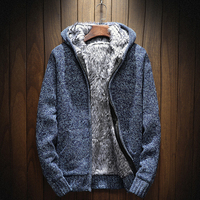 New Mens Sweater 2018 Winter Sweater Men Solid Thick Warm Plus Velvet Sweater Hooded Mens Winter Outwear Pull Zipper Cardigan
