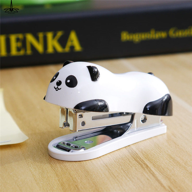 Cute Panda Mini Stapler Staples Set Office Stationery Paper Binding Binder Book