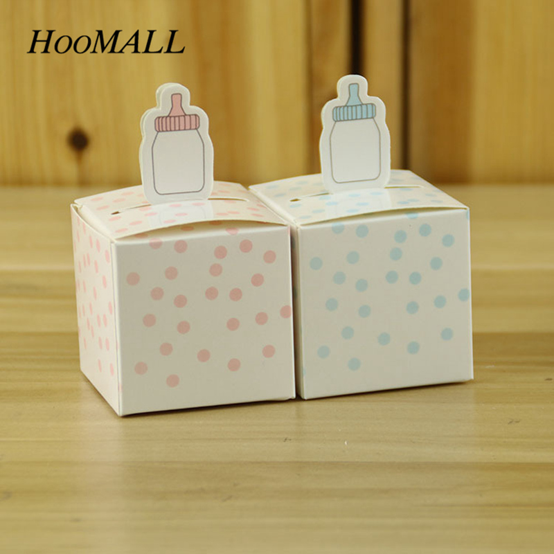 Hoomall 50Pcs/lot Baby Feedding Bottle Baby Candy Box Blue Pink Dot Birthday Baby Shower Wedding Decoration Kids Favor Gift Box