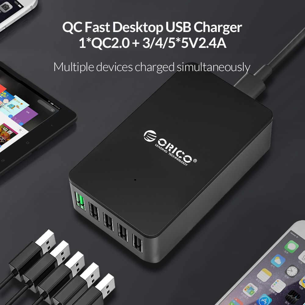 Orico QC2.0 USB Charger 5 Port Desktop Charger Cepat untuk Samsung Xiaomi Huawei dan Tablet dengan Uni Eropa Plug
