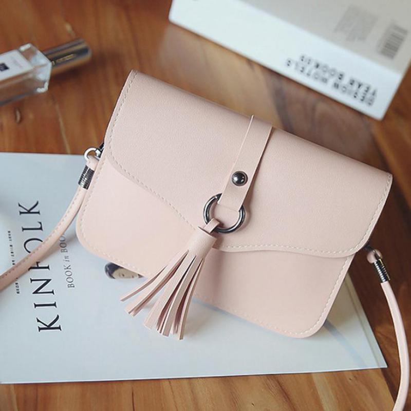 LXTAZG Fashion Leisure Cute Small Women Leather Handbags Mini  Tassels Shoulder