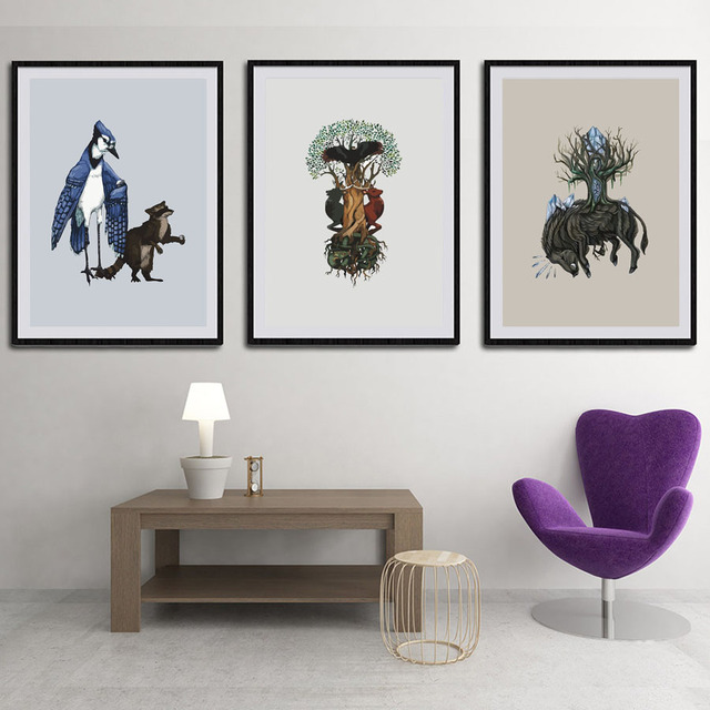 Bird Deer Porcupine A4 Poster Print Abstract Animal Pictures Canvas ...