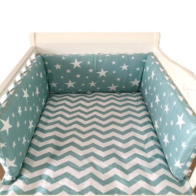 נורדי כוכבים עיצוב תינוק מיטה לעבות פגושים אחד-חתיכה עריסה סביב כרית מיטת מגן כריות 7 צבעים תינוקות חדר דקור