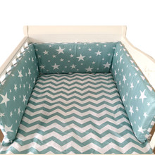 Nordic Stars Design Baby Bed Thicken Bumpers One-piece Crib Around Cushion Cot Protector Pillows 7 Colors Newborns Room Decor(China)