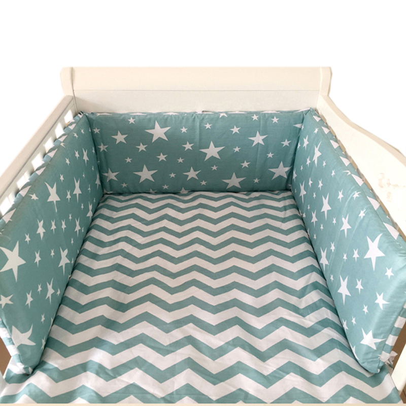 Nordic Stars Design Baby Bed Thicken Bumpers One-piece Crib Around Cushion Cot Protector Pillows 7 Colors Newborns Room Decor ...