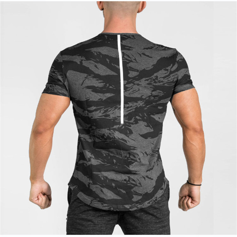 Men's  ECHT O-neck Short Sleeve Cotton T Shirt Men gyms Fitness body building Casual