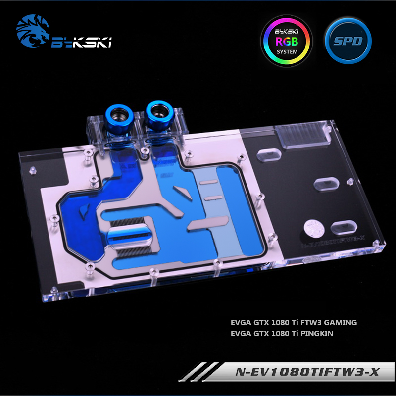 Bykski N EV1080TIFTW3 X, Full Cover Graphics Card Water Cooling Block RGB/RBW for EVGA GTX1080Ti FTW3 GAMING-in Fans & Cooling from Computer & Office