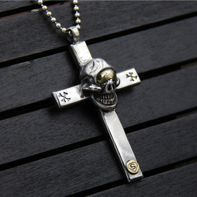 925 Silver Big Super Skull in Cross Charm Pendant For Necklace Thai Silver hand made Fashion Man Biker Jewelry bijoux de charme display for man roland whole hand terminal made in taiwan