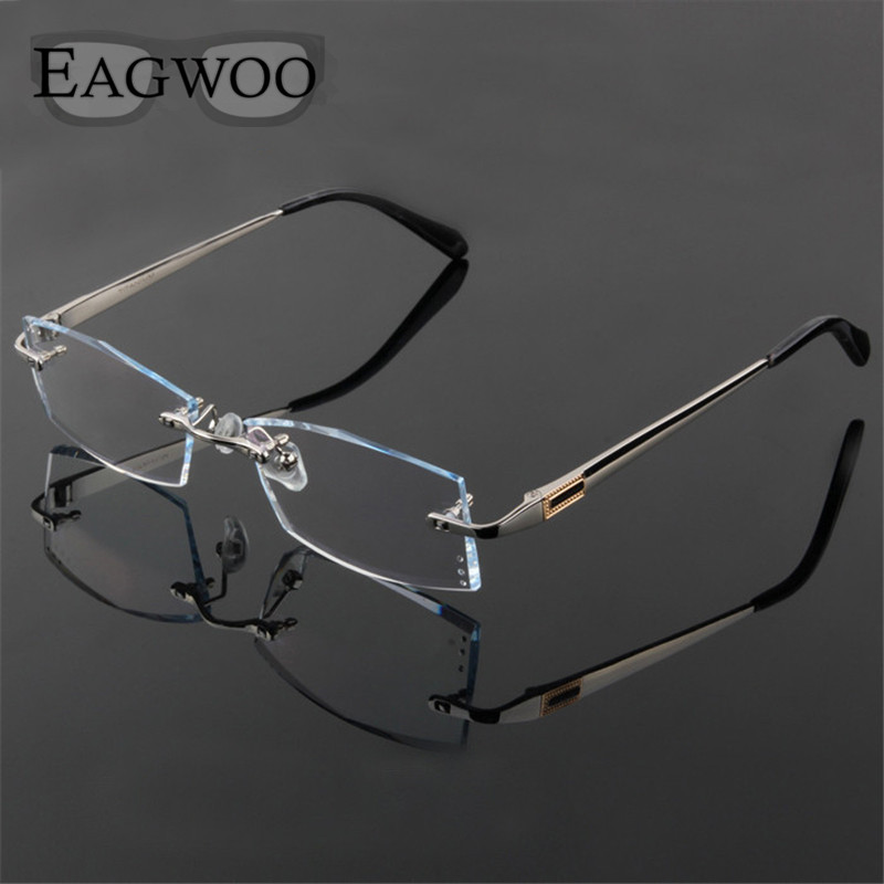 Titanium Eyeglasses Men Rimless Prescription Reading ...