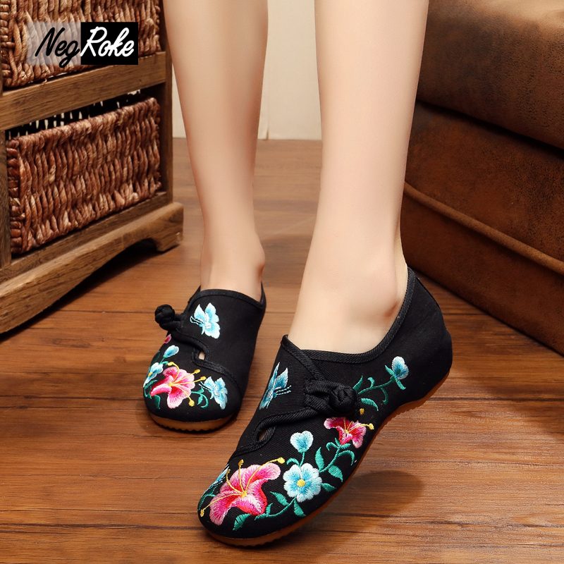 Fashion flowers Chinese embroidery shoes woman casual Canvas flats shoe ladies slip on shoes for women Marry jane flats loafers vintage embroidery women flats chinese floral canvas embroidered shoes national old beijing cloth single dance soft flats