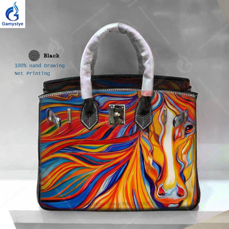 Personality Art Hand Drawing Horse Women Bag Famous Brand Designer Handbags  Sac A Main Genuine Leather Shoulder Bag Yellow Bag Y-in Top-Handle Bags from  ... 5ee4a8ee4a684