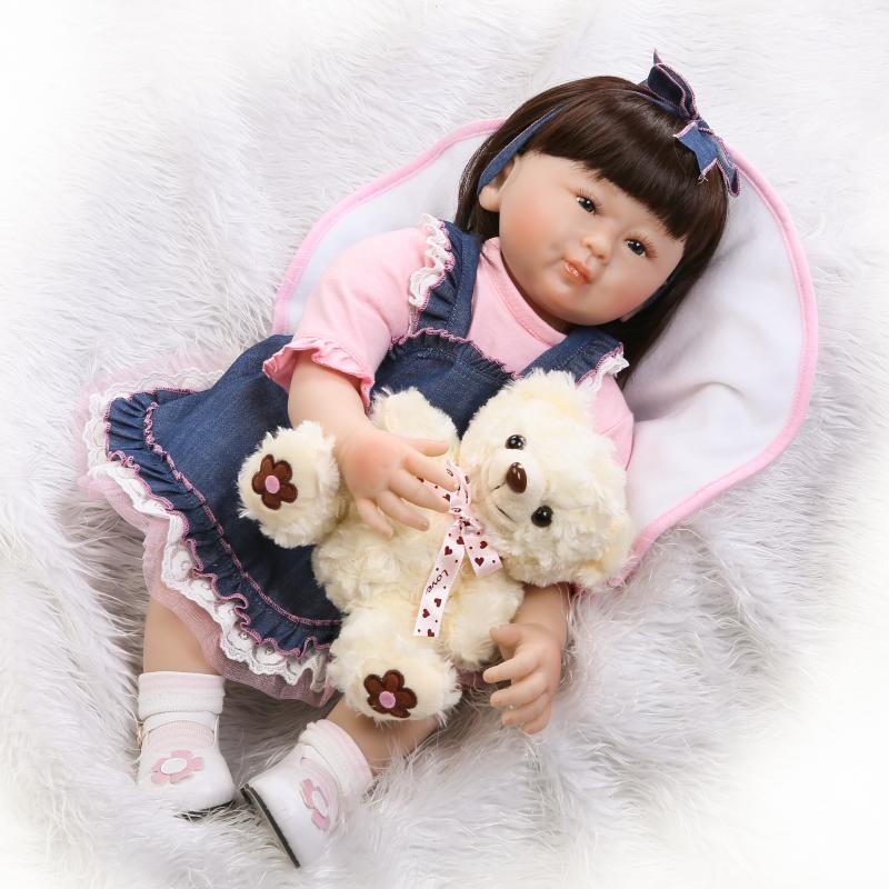 55cm Silicone Reborn Dolls Newborn Lifelike Relistic Baby Gift 22inch Juguetes Babies Toys Brinquedos For Kids Chirstmas Gift  fashion baby toys 55cm soft silicone reborn baby dolls 22inch bebe doll lifelike baby gift toys brinquedos newborn babies toys
