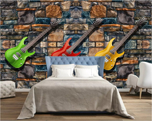 beibehang European classic stereo wallpaper fashion retro guitar background wall papers home decor decorative painting behang
