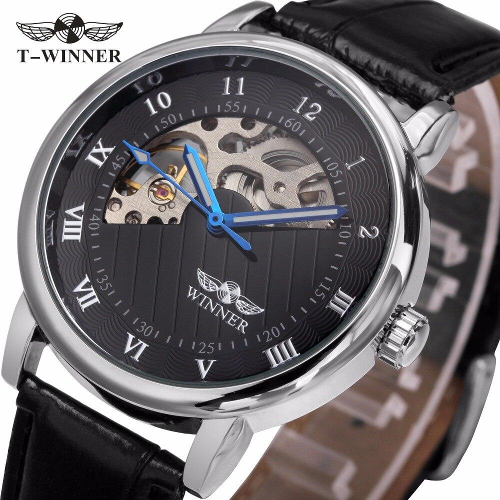 WINNER Men Luxury Mechanical Wristwatch Leather Strap Mechanical hand wind Roman Number Half Moon Shape Dial