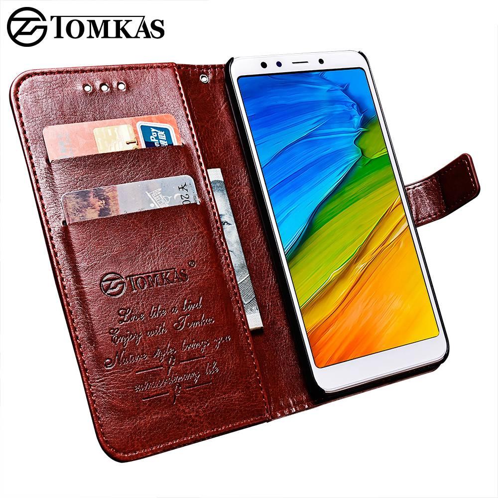 TOMKAS Wallet Phone Case For Xiaomi Redmi 5 Cases Cover Original PU Flip 5.7 Inch Case For Xiaomi Redmi 5 Plus Business