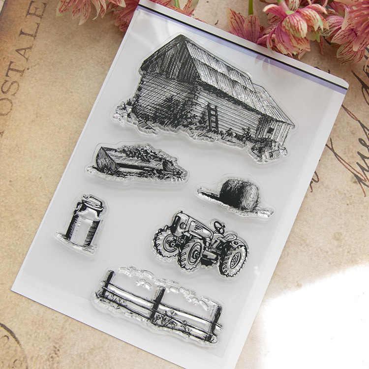 Dom do zabawy pojazd rolniczy księga gości DIY photo karty konto pieczątka jasne przezroczyste pieczęć 10.5x15 cm SD475