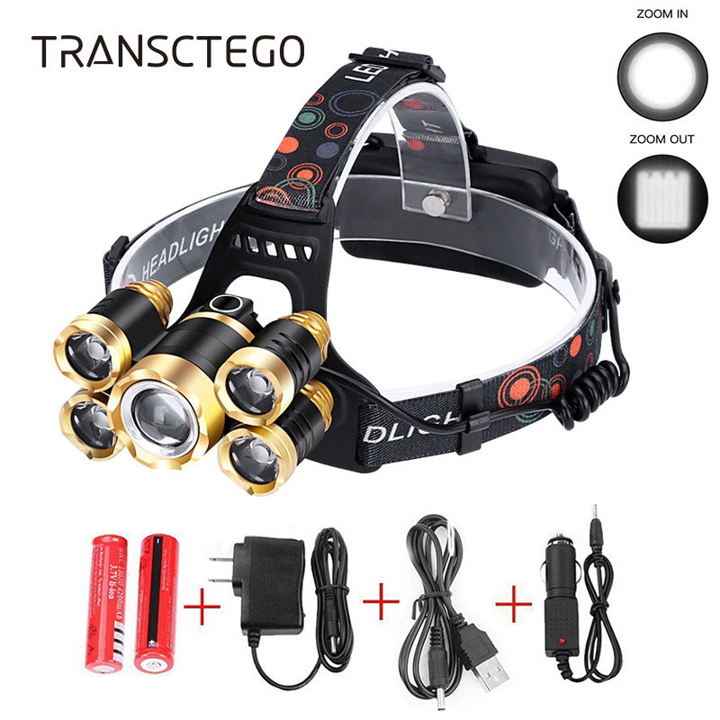 15000 Lumens Led Headlamp Zoom Headlight XM-L2 T6 Head Torch Rechargeable Flashlight Waterproof Fishing Hunting 18650 Head Lamp(China)
