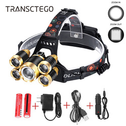 15000 Lumens Led Headlamp Zoom Headlight XM-L2 T6 Head Torch Rechargeable Flashlight Waterproof Fishing Hunting 18650 Head Lamp