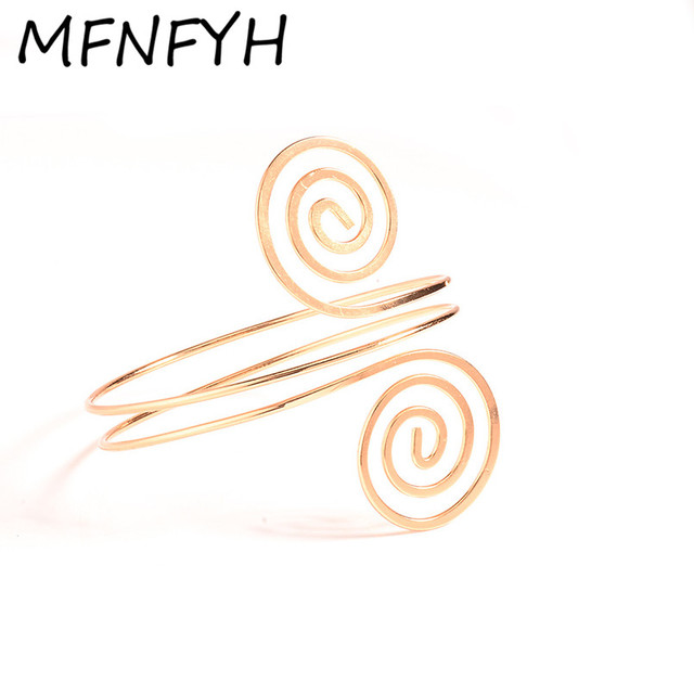 MFNFYH Fashion Gold Silver Round Adjustable Armband Metal Spiral Upper Arm  Cuff Bracelet for Women Party Jewelry Accessories-in Charm Bracelets from