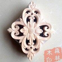 Madera dongyang tallada en madera esquinas de moda apliques puerta flor virutas de madera tallado flores para muebles de cama 25 20