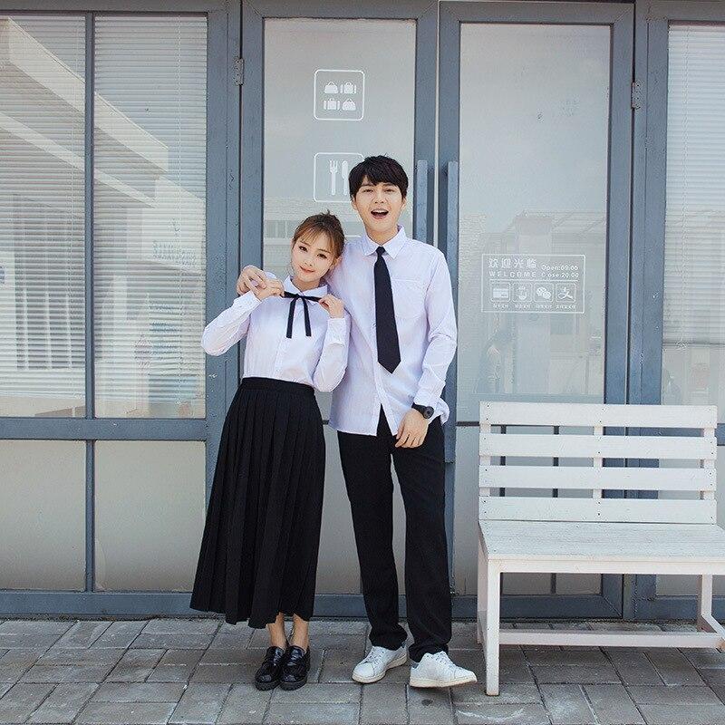 Uniforme scolaire japonais pour hommes femmes étudiants classe vêtements doux grande taille noir jupe longue + chemise blanche + cravate 3 pièces/ensemble