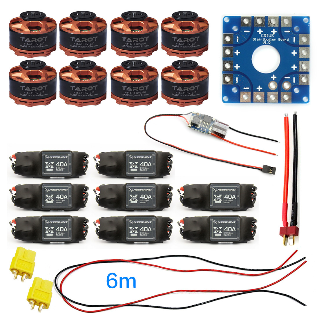 JMT Assembled Kit 40A ESC Controller Connection Board Wire Tarot 320KV Motor for 8-axle Drone Multi Rotor Hexacopter F04997-G zy 25 diy solderless assembled 25 hole mini bread board test board multi colored 1 set