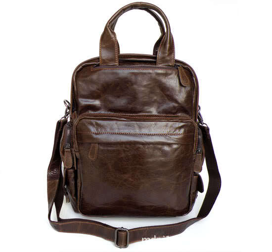 Minimalist Fashion Leisure Series Laptop Backpack genuine leather Travel Bags Retro Personality School bag2685