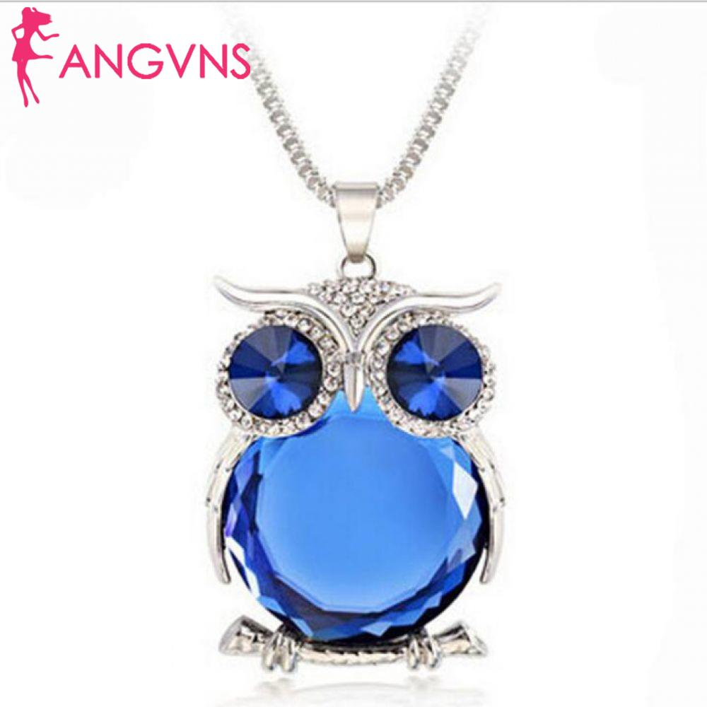 ANGVNS Crystal Rhinestones Clothing Design Drop Chain Sweater Necklaces Shipping Jewelry Necklace Pendant Accessories Women Owl