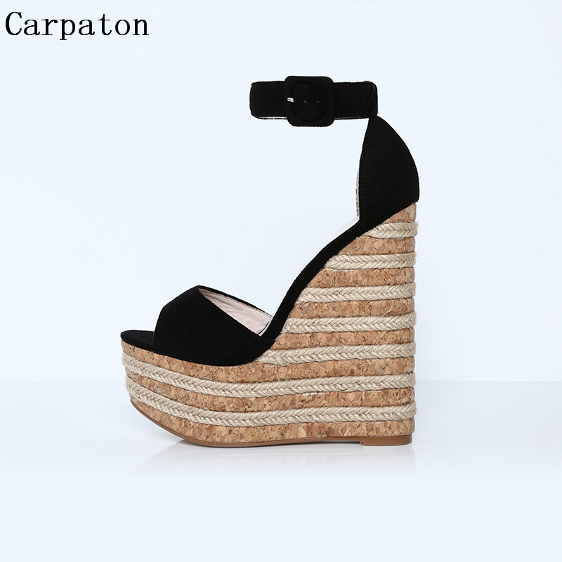 2017 New Summer Weave High Platform Wedge Heel Sandals Women Peep Toe Buckle Strap Cover Heel Dress Party Fashion Shoes muffin wedge high heel stretch women extreme fetish casual knee peep toe platform summer black slip on creepers boots shoes
