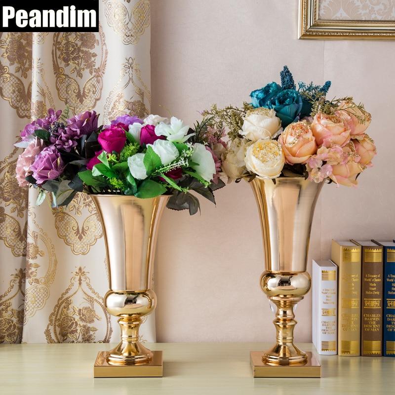 peandim metal flower vase gold candle holder wedding. Black Bedroom Furniture Sets. Home Design Ideas