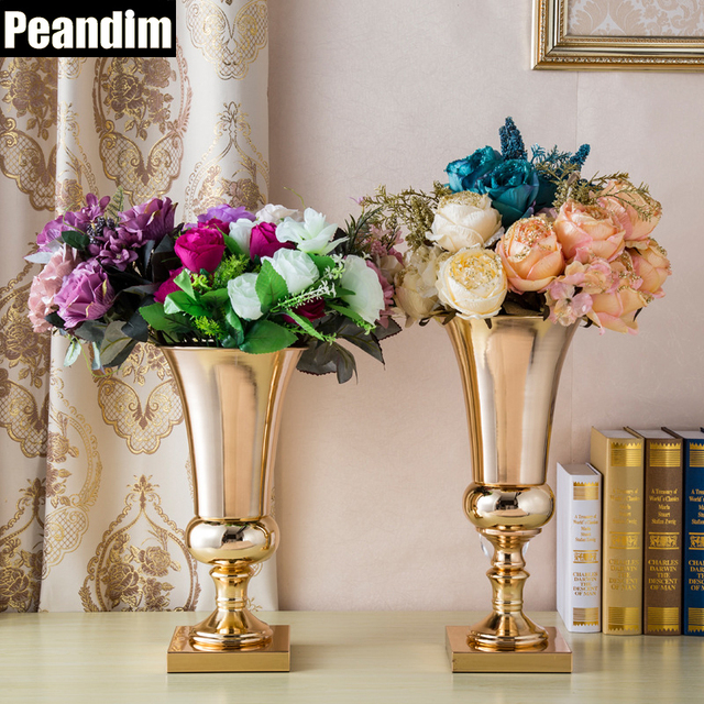 Peandim Metal Flower Vase Gold Candle Holder Wedding Decorations
