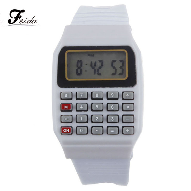 Feida Unsex Boy Silicone Multi-Purpose Date Time Electronic Wrist Calculator Wat