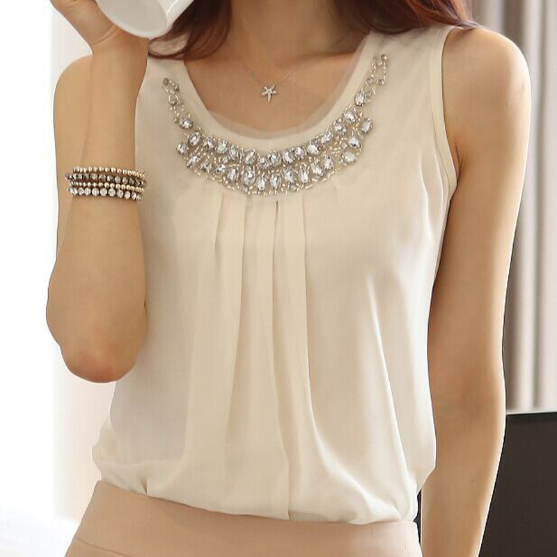blusas y camisas mujer 2017 summer tops diamond shirt sleeveless women blouses chiffon blouse vetement femme camisas femininas