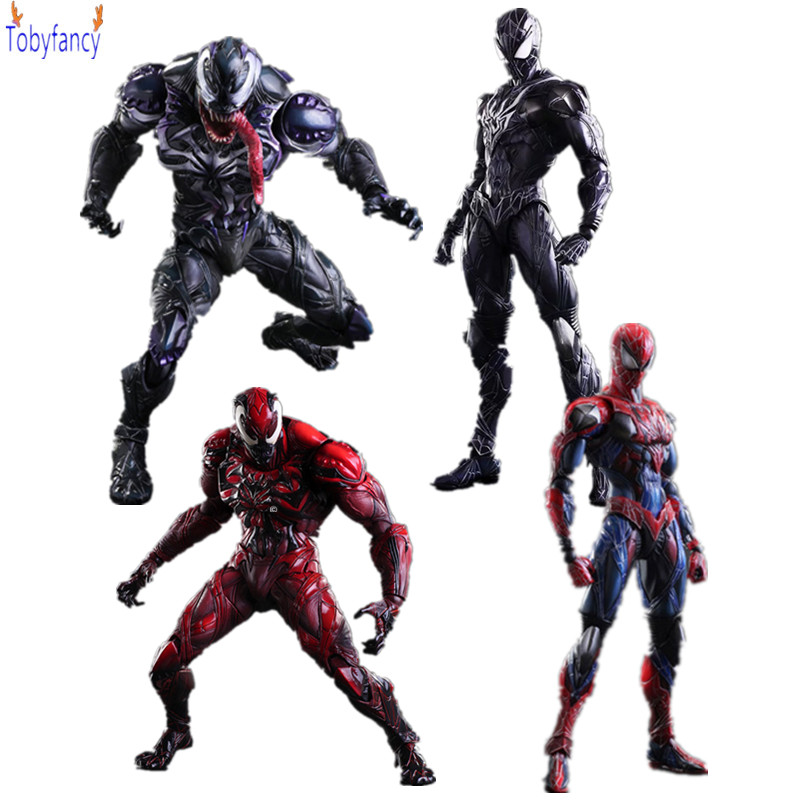 Spiderman Play Arts Kai Venom Action Figures 250mm Anime Spiderman Toys Collection Model Figurine Venom Play Arts Kai Toy final fantasy play arts kai action figure 250mm cloud sephiroth squall pvc anime toy collection model figurine play arts kai