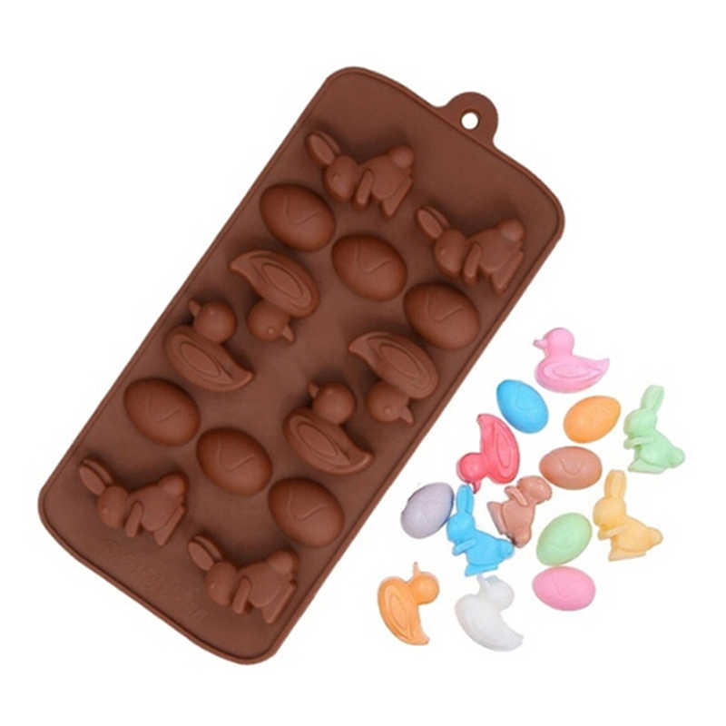 Neue 14 Hohlraum Cartoon Ente Kaninchen Ei Silikon Form Kuchen Backen Werkzeuge DIY Eis Tablett Schokolade Gebäck Brot Werkzeuge