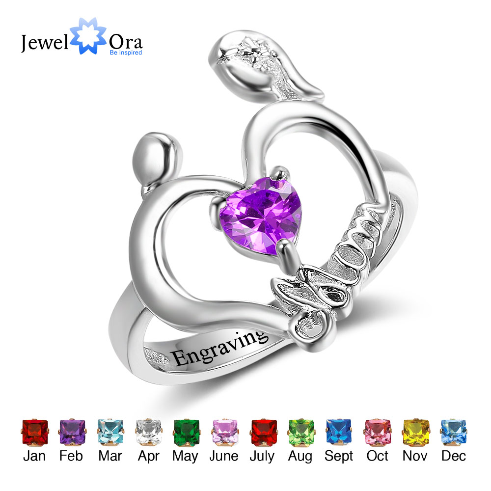 Mom's Ring Personalized Engrave Custom Heart Birthstone Ring 925 Sterling Silver Rings For Mother's Gift (JewelOra RI102503) double heart personalized ring custom engrave names