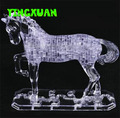 HAPPYXUAN 100pcs 16.5*6*13.5CM DIY 3D Jigsaw Crystal Horse Puzzle Plastic Brown Transparent  Home Decoration  for Children