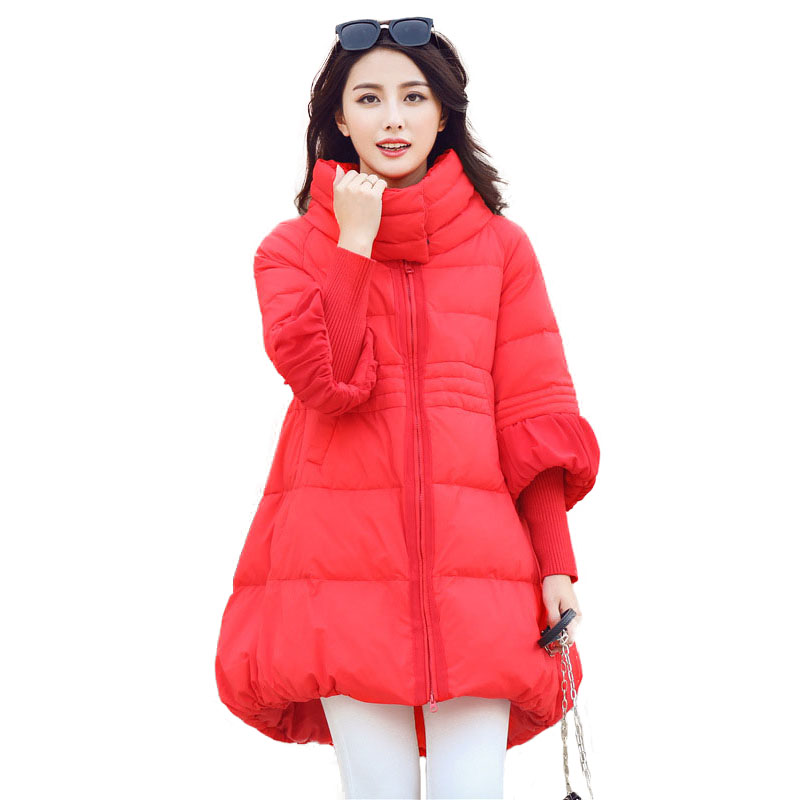 Women Winter Coat Jacket Warm Woman Parkas Female Stand Collar Long Quilted Coat Cotton Wadded Coats Korean Fashion Clothing geometric stand collar quilted wadded jacket