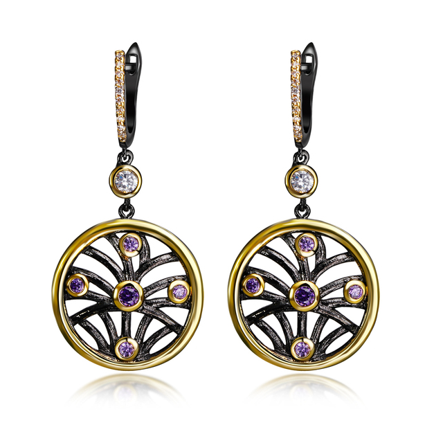 New Arrival Ethnic Women Fashion Earrings Big Drop Jewelry Black Gold Plated Amethyst Bezel setting Top grade AAA Cubic Zirconia