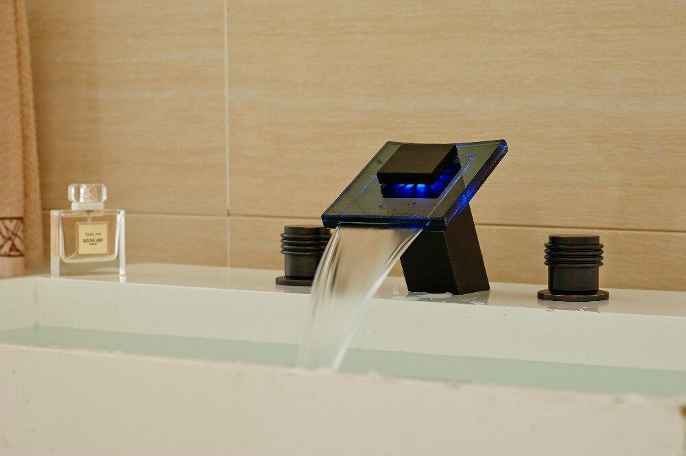 Современные светодиодные масло втирают Бронзовый Смеситель водопад Смеситель для мойки Двойной Ручки Tap