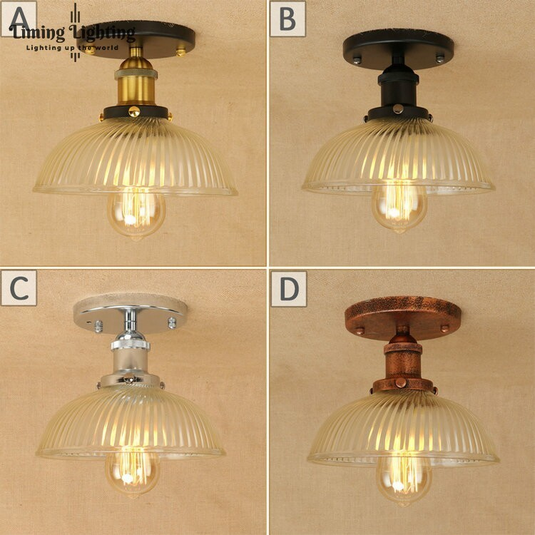 American Vintage GLASS Ceiling Lights Lamps Living Room Bedroom Luminaria De Teto E27 Modern Ceiling Lamp Home Lighting Fixtures chandeliers lights led lamps e27 bulbs iron ceiling fixtures glass cover american european style for living room bedroom 1031