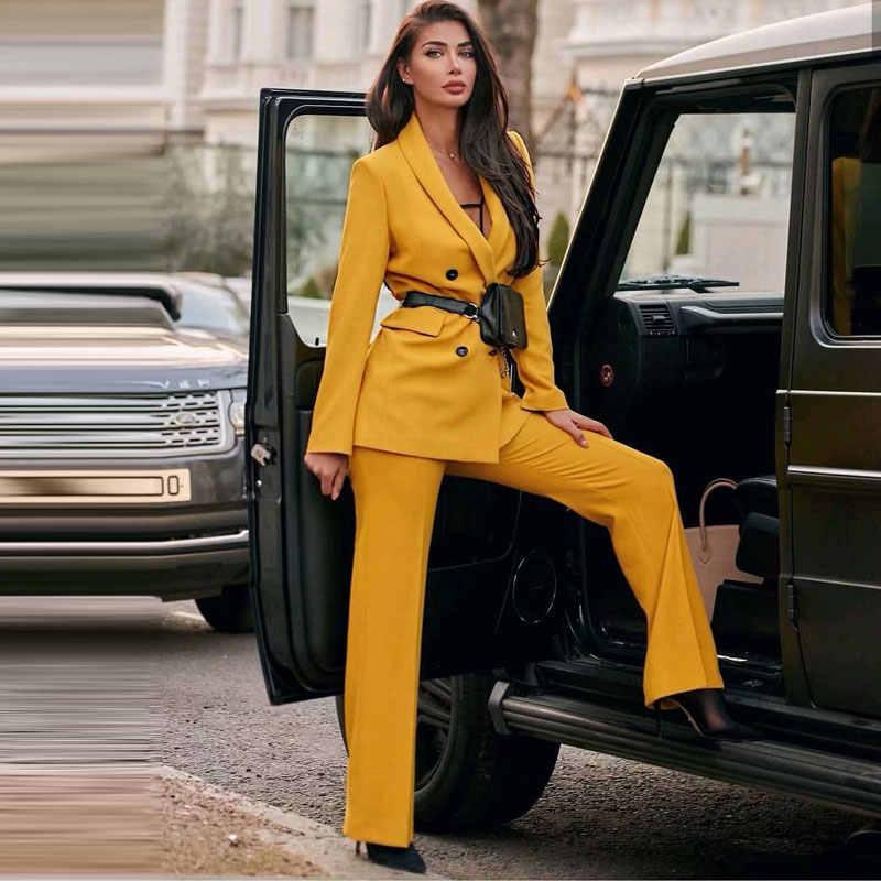 Bella filosofía mujeres Chic amarillo Blazer doble Breasted manga larga Oficina desgaste abrigo sólido femenino Casual prendas de vestir exteriores Tops