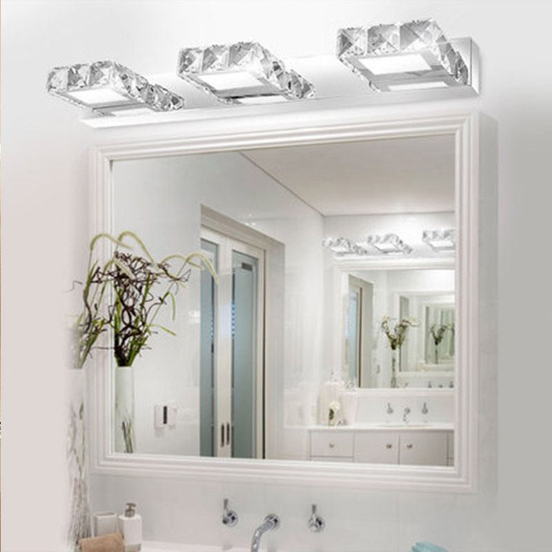 Modern K9 Led Bathroom Make Up Crystal Mirror Light Round Head